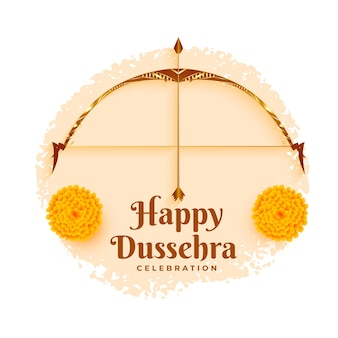 Happy dussehra festival card with flowers and bow arrow