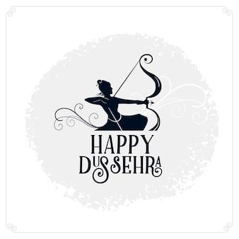 Happy dussehra festival card con lord rama che tiene arco e frecce