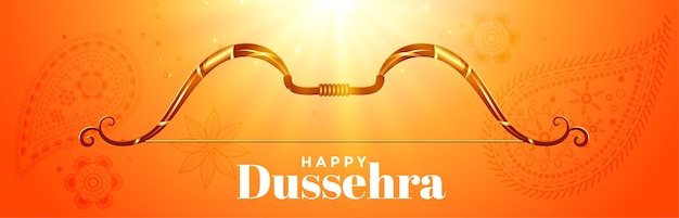 Happy dussehra festival celebration banner with bow