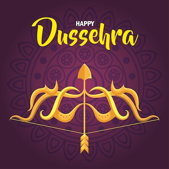 Happy dussehra festival and golden arrow and arch on purple background