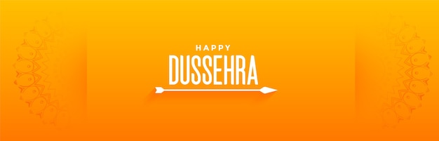 Happy dussehra festival greeting banner with arrow