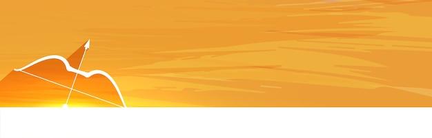 Banner di saluto felice festival di dussehra con arco e freccia