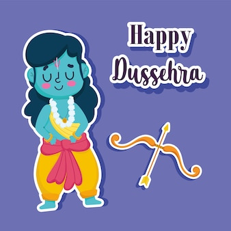 Happy dussehra festival of india, cartoon rama with bow and arrow, traditional religious ritual