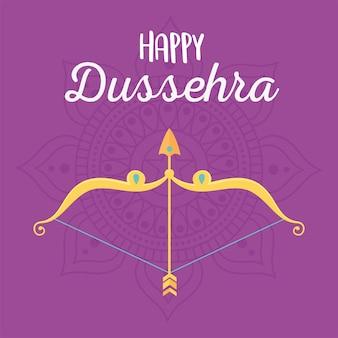 Happy dussehra festival of india celebration traditional card illustration