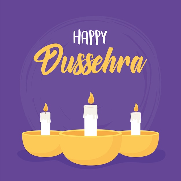 Happy dussehra festival of india, decorative candles in lamps illustration