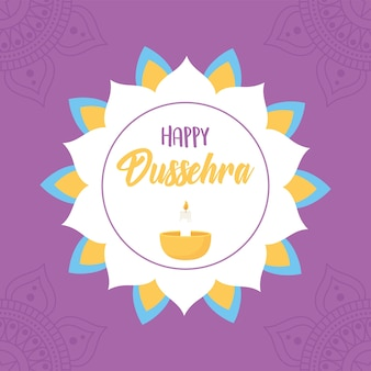 Happy dussehra festival of india floral mandala diya lamp purple background