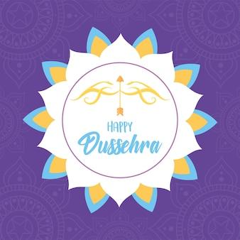 Happy dussehra festival of india flower mandala bow arrow celebration card illustration
