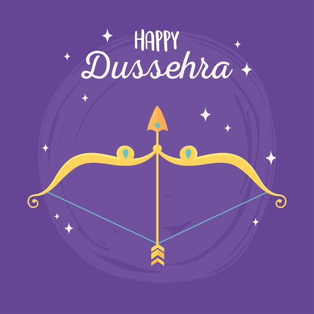 Happy dussehra festival of india, gold arrow bow purple background illustration