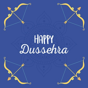 Happy dussehra festival of india gold arrows and bows with crystals illustration