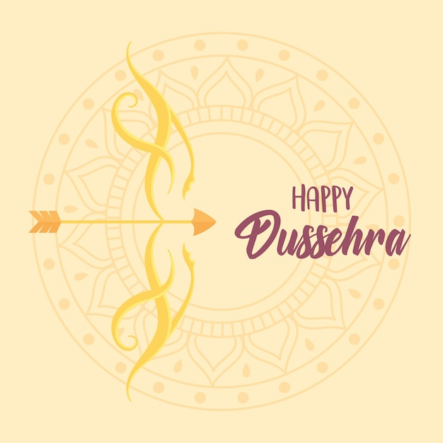 Happy dussehra festival of india gold bow and arrow mandala background