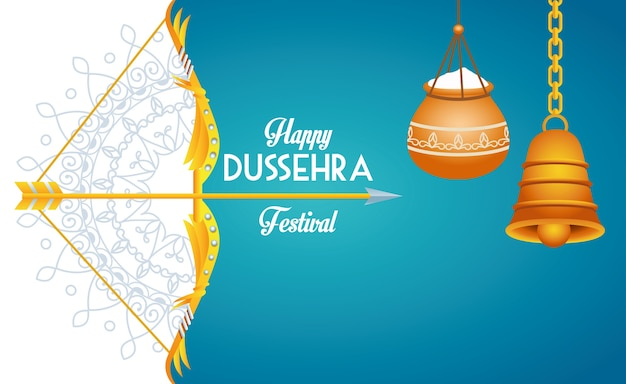 Happy dussehra festival poster with arch and bell hanging