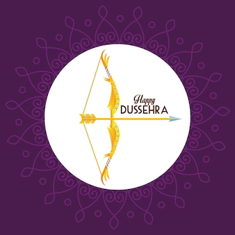 Happy dussehra festival poster with arch and lettering in purple background