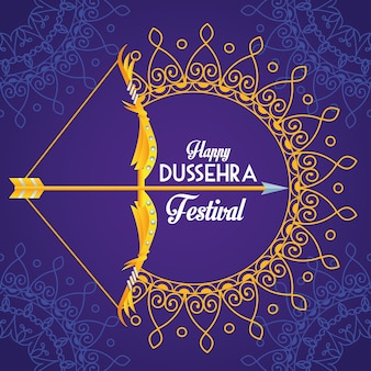 Happy dussehra festival poster with arch and mandalas in purple background