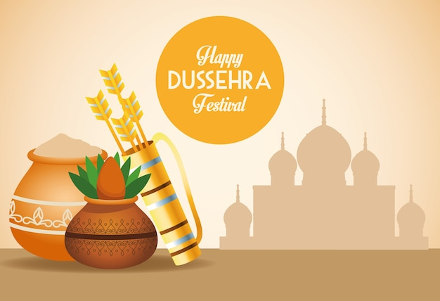 Happy dussehra festival poster with arrows bag and ceramic pot in mosque