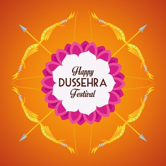 Happy dussehra festival poster with arrows crossed in orange background
