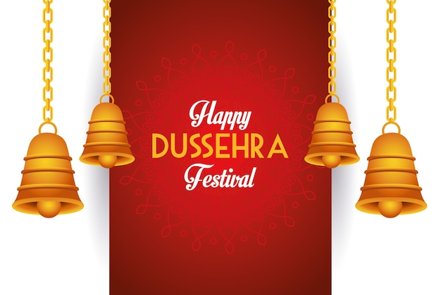 Happy dussehra festival poster with bells hanging
