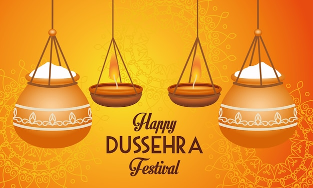 Happy dussehra festival poster with ceramic pots hanging
