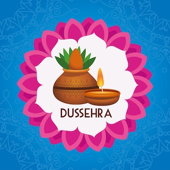 Happy dussehra festival poster with house plant and candle in mandala