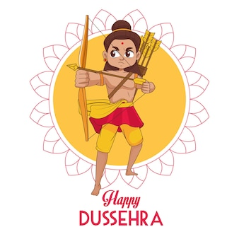 Happy dussehra festival poster with rama character in mandala