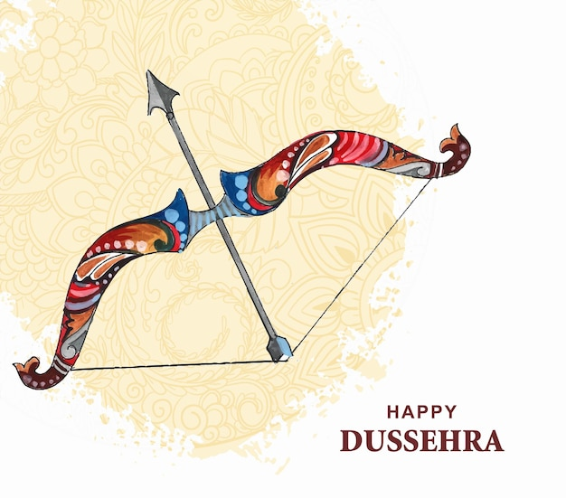 Happy dussehra festival wishes card watercolor background