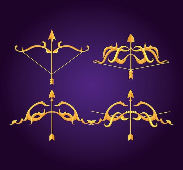 黄金の矢とアーチのある幸せなデュッセフラフェスティバル