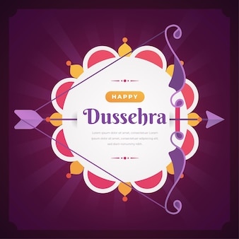 Happy dussehra flat design background with bow and arrow