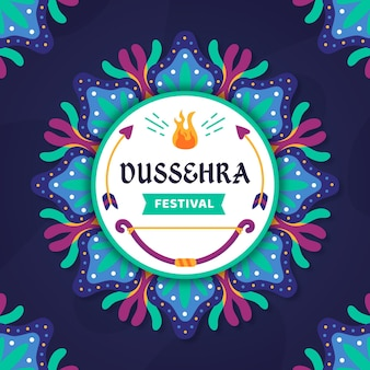 Happy dussehra flat design background with bow and arrows