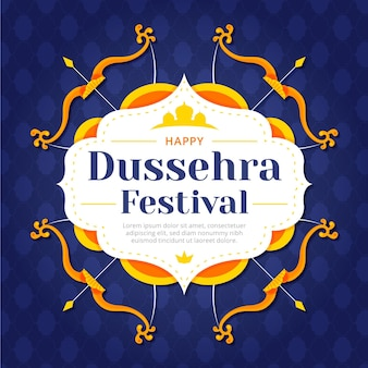 Happy dussehra flat design background with bows and arrows