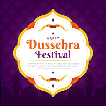 Happy dussehra flat design traditional background