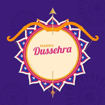 Happy dussehra font with bow arrow on mandala frame and purple background