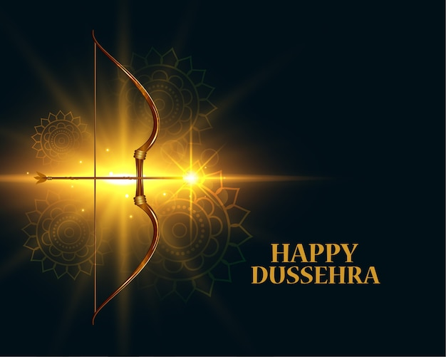 Happy dussehra glowing festival wishes greeting card design