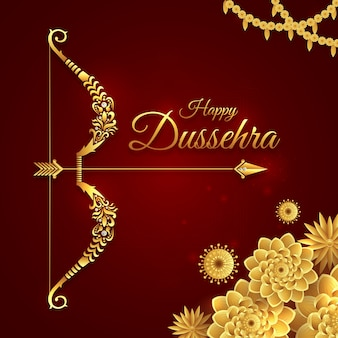 Happy dussehra, greeting with golden bow for navratri festival, vijayadashami, durga pooja