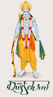 Happy dussehra hindu festival. lord rama holding bow and arrow
