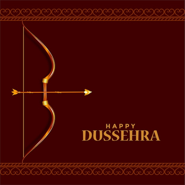 Happy dussehra hindu festival wishes card design