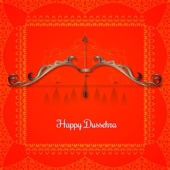 Happy dussehra indian cultural festival red background vector