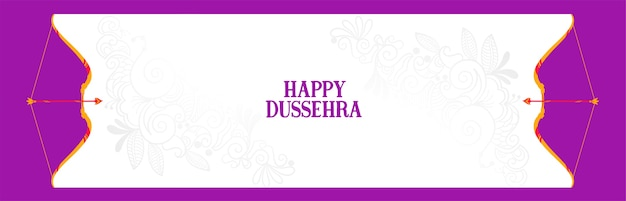 Happy dussehra indian festival banner with bow and arrow