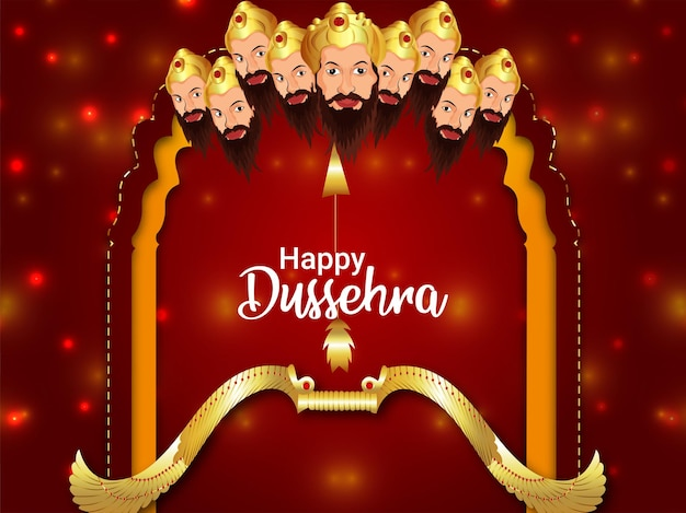 Happy dussehra indian festival celebration greeting card