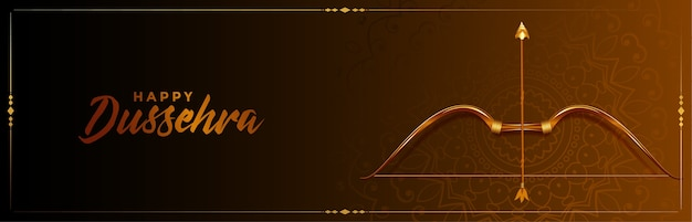 Manifesto del festival indiano di dussehra felice con arco e freccia