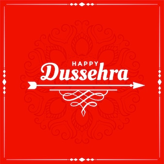 Happy dussehra red festival wishes card design