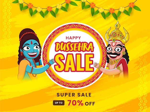 Happy dussehra sale poster discount offer, cheerful lord rama and demon ravana character on yellow brush stroke background.