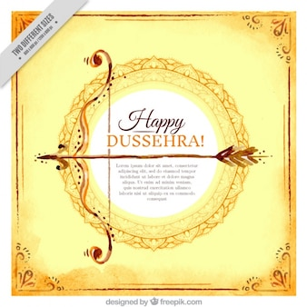 Happy dussehra watercolor card with bow and arrow