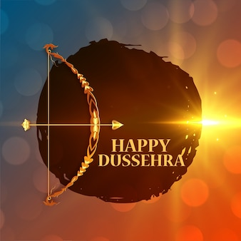Happy dussehra wishes card with bow and arrow