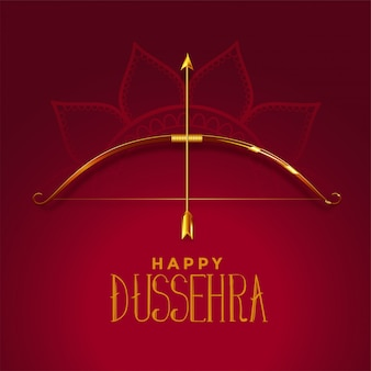 Happy dusshera beautiful festival card with golden bow and arrow