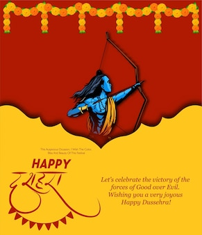 Happy dusshera  illustration of lord rama with bow giving blessing in navratri festival