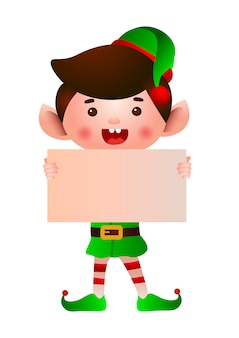 Happy dwarf holding blank paper illustration