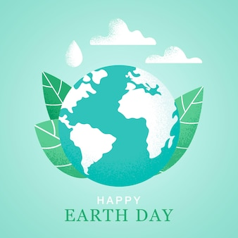 Happy earth day 22 april banner vector world map vector illustration