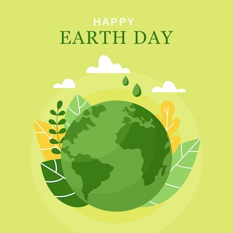 Happy earth day 22 april concept of the earth day planet leaves and clouds in flat style