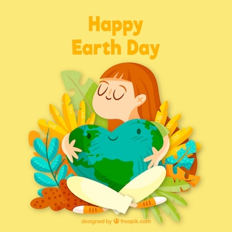Happy earth day background with cute world