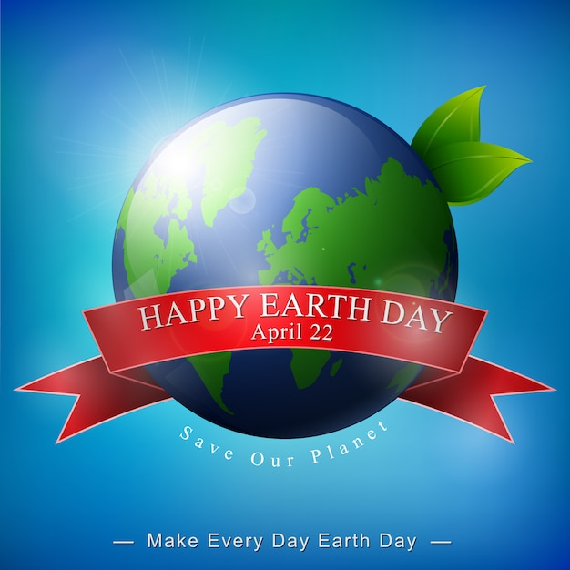 Happy earth day banner on blue background