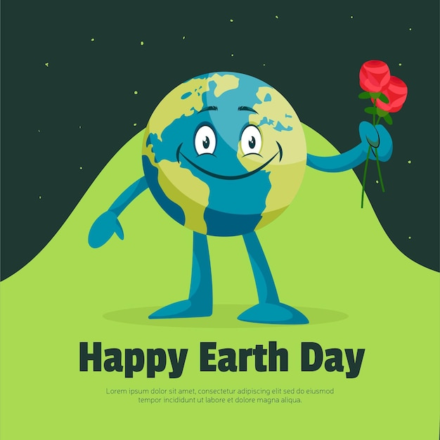 Happy earth day banner design template